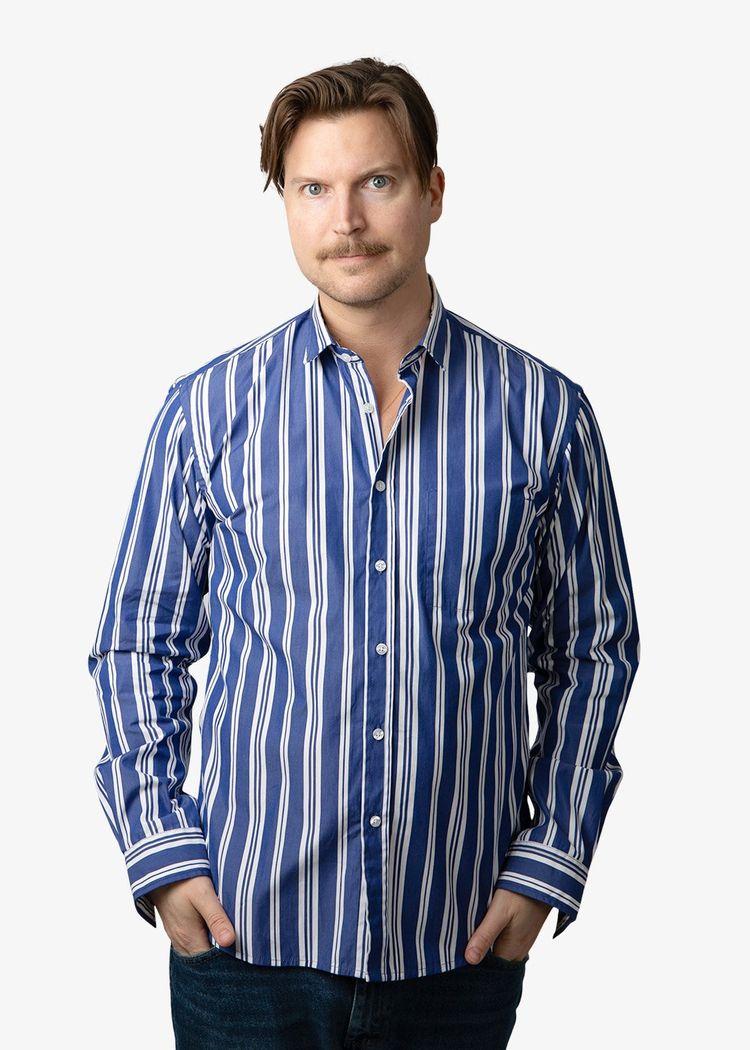 """Product image for """"Kurt Skjorta Rand Blå"""""""