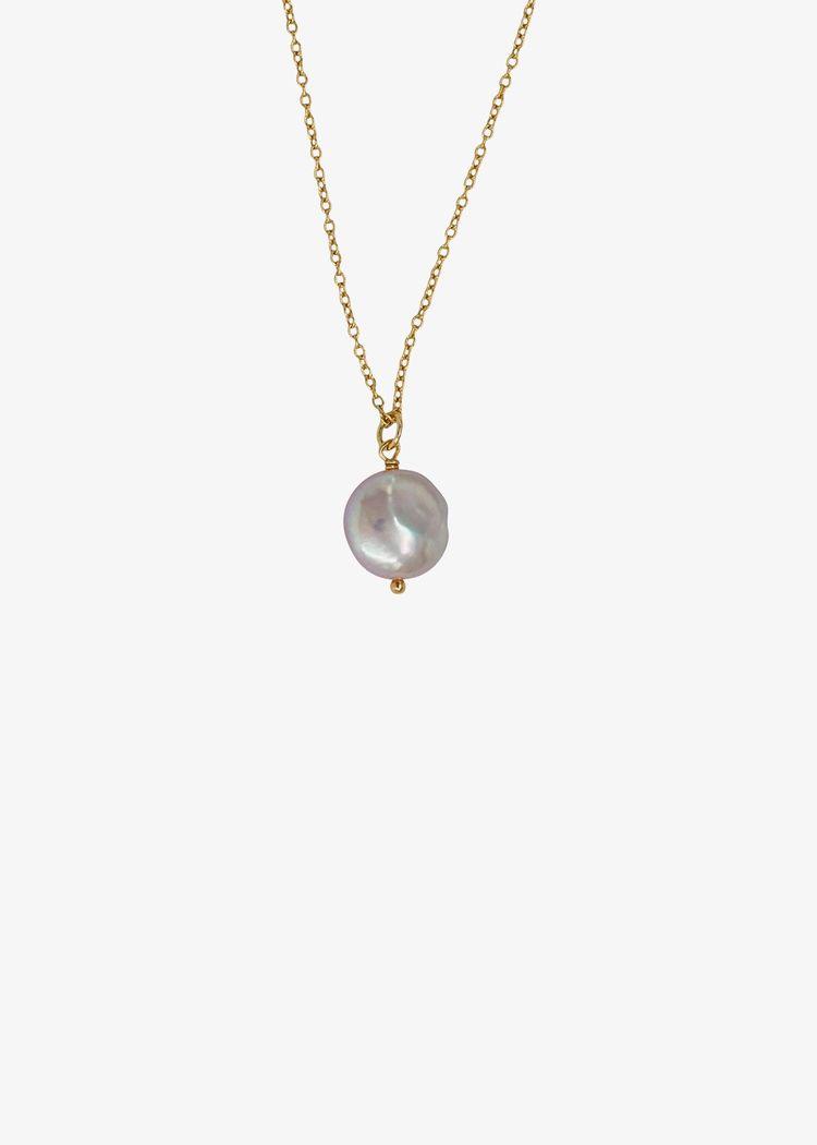 "Secondary product image for ""Halsband Pärla Slät Guld"""