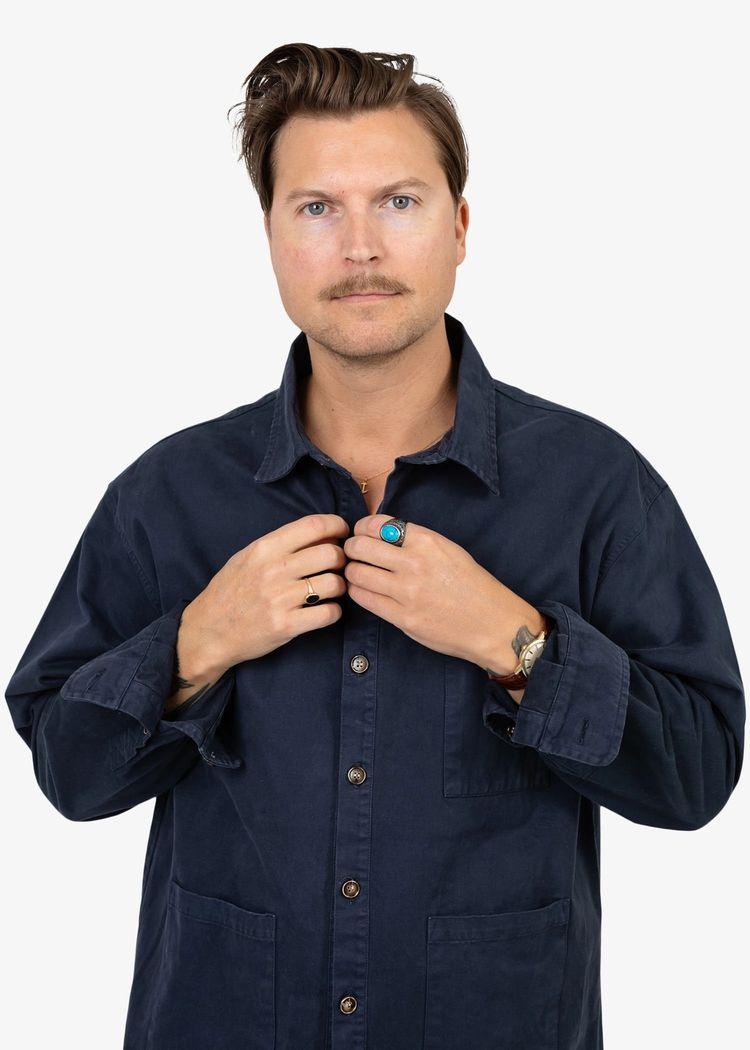 "Product image for ""Three Pocket Skjorta Marinblå"""