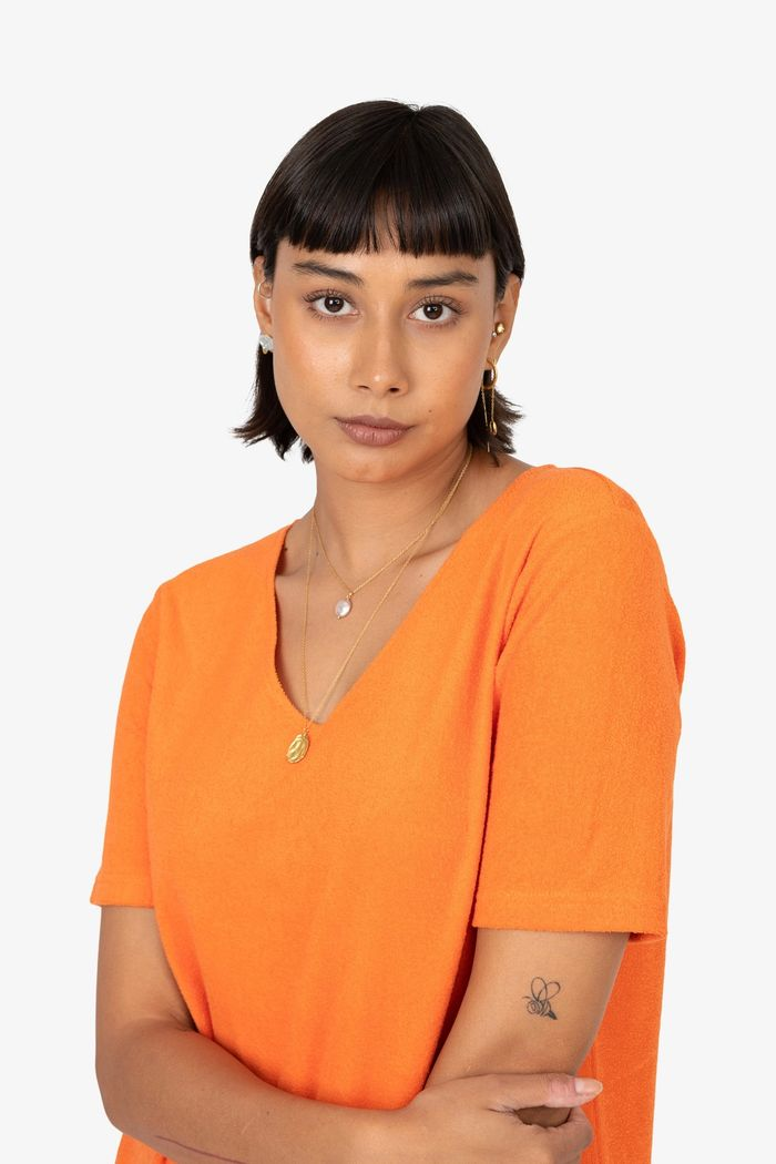 "Secondary product image for ""Hilda Frottéklänning Orange"""