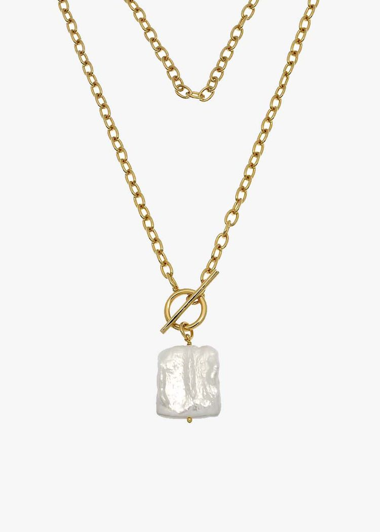 "Secondary product image for ""Halsband Lås Pärla Guld"""