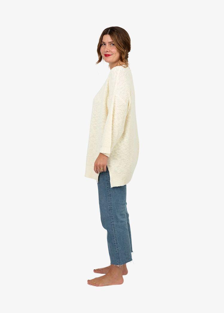 "Secondary product image for ""Elisa Slub Knit Sweater Off-white"""