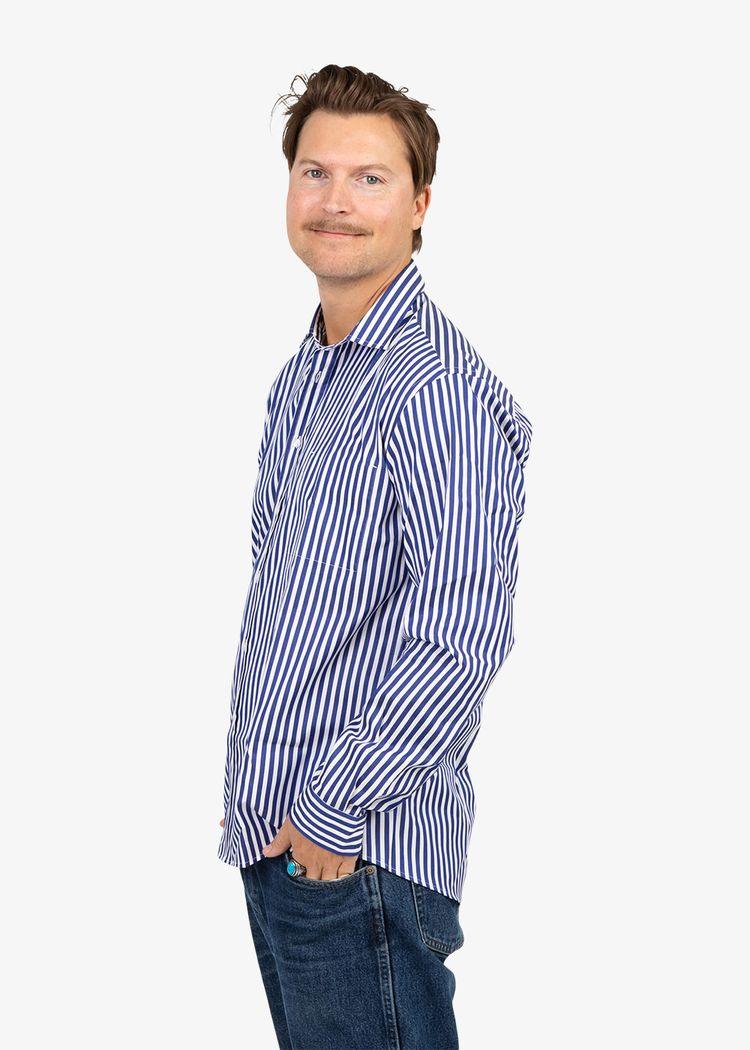 "Secondary product image for ""Kurt Skjorta Rand Marinblå"""