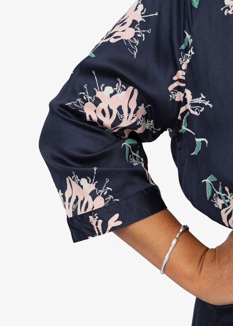 """Secondary product image for """"Marie Shirt Dress Honeysuckle Navy"""""""