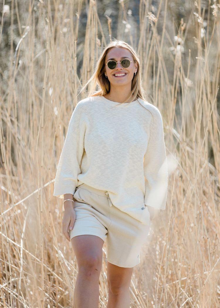 """Product image for """"Elisa Slub Knit Sweater Off-white"""""""