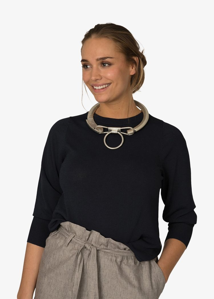"Product image for ""Edith Stickad Tröja Marinblå"""