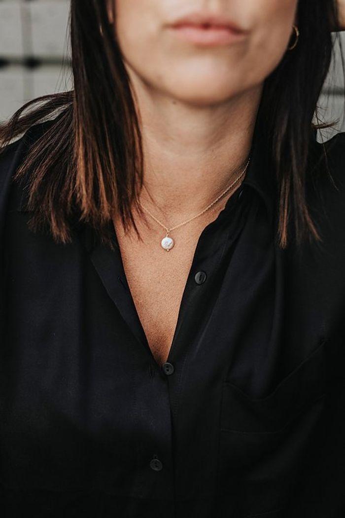 "Product image for ""Halsband Pärla Slät Guld"""