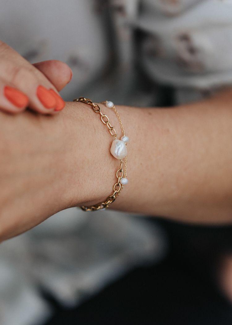 "Product image for ""Armband Kedja Pärla Guld"""