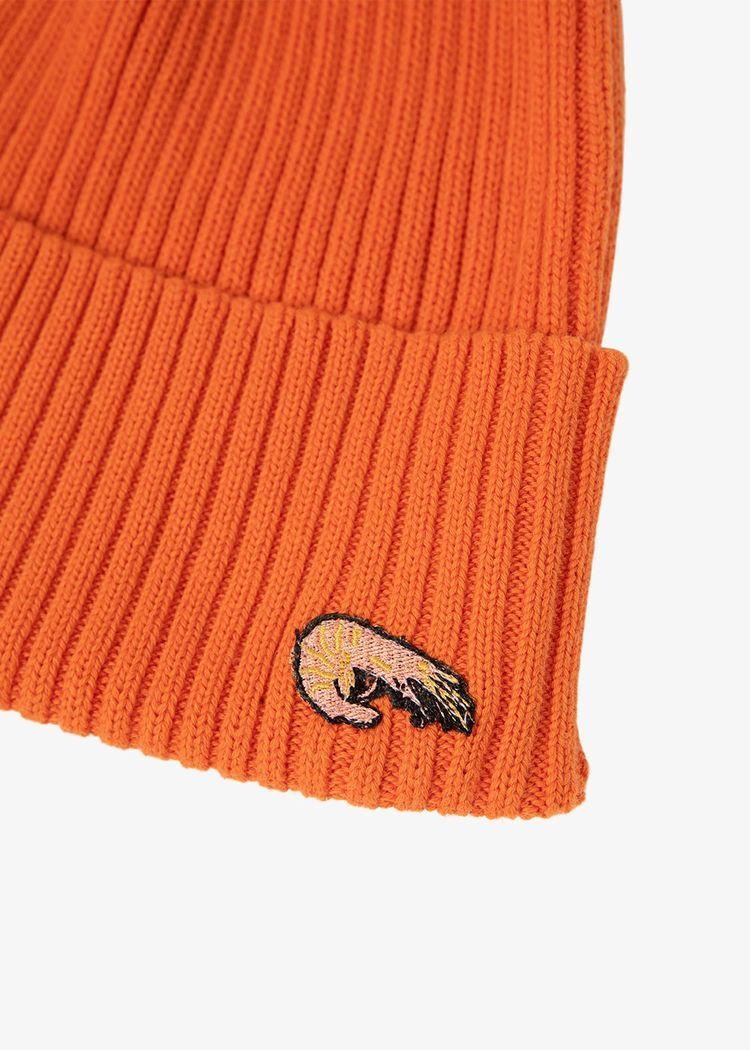 "Secondary product image for ""Stickad Mössa Räka Orange"""