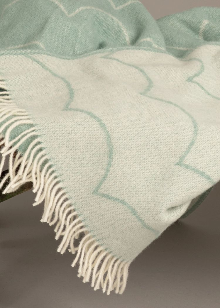 """Secondary product image for """"Wool Blanket Wave Green"""""""