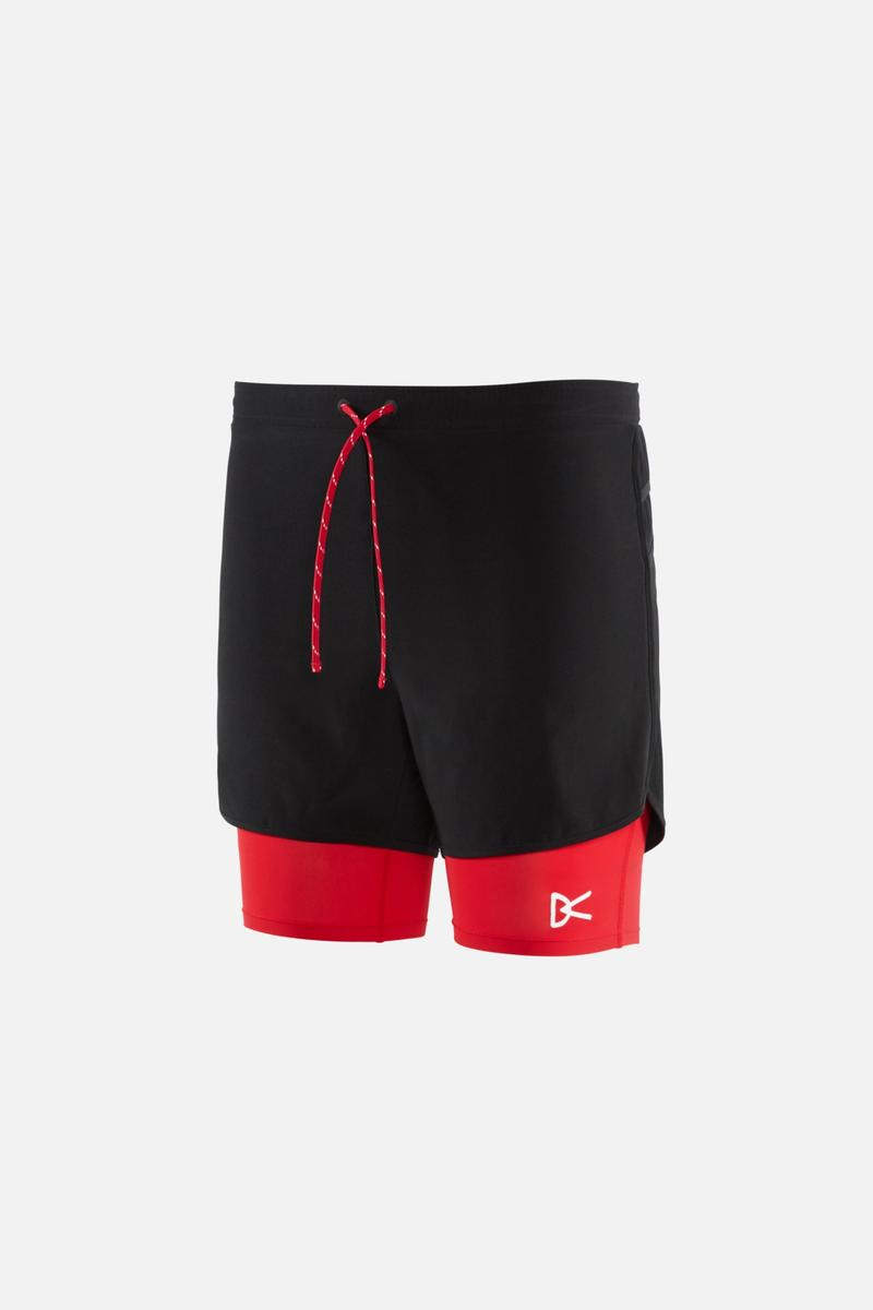 Aaron Layered Shorts, Black Red