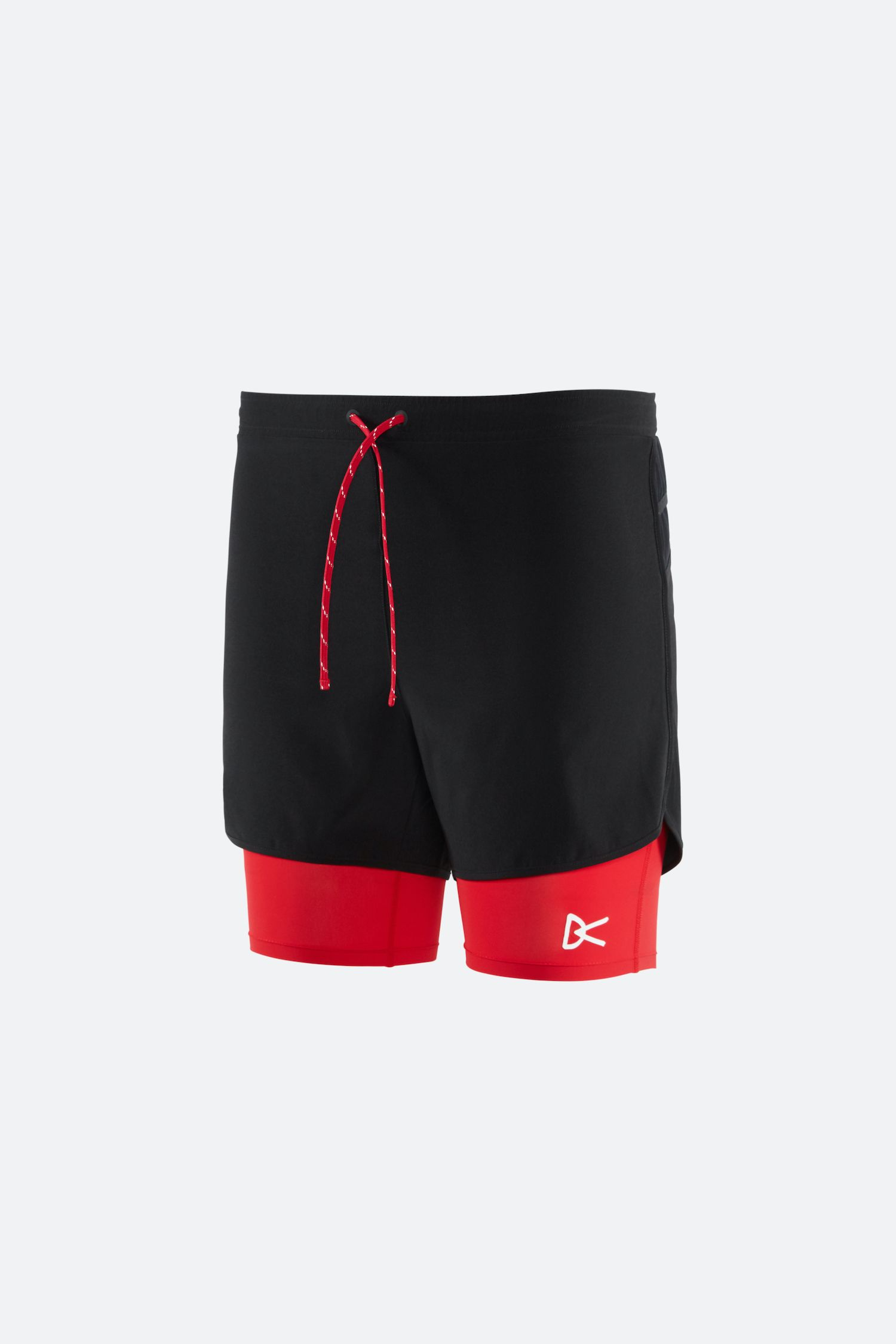 Aaron Layered Shorts, Black/Red