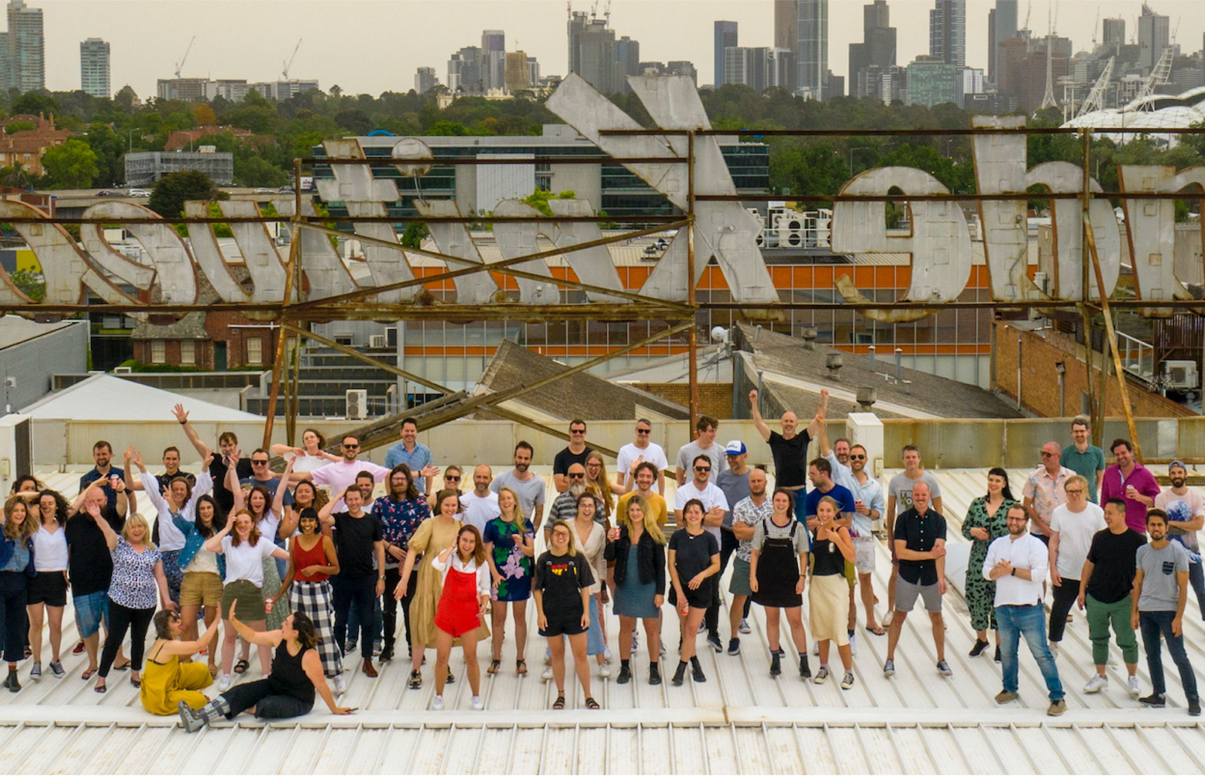 The whole Royals gang, hanging out on the rooftop of our Cremorne office.