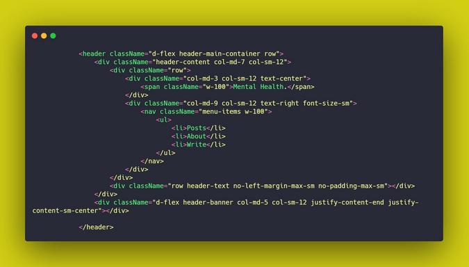 Html semantics for header and nav