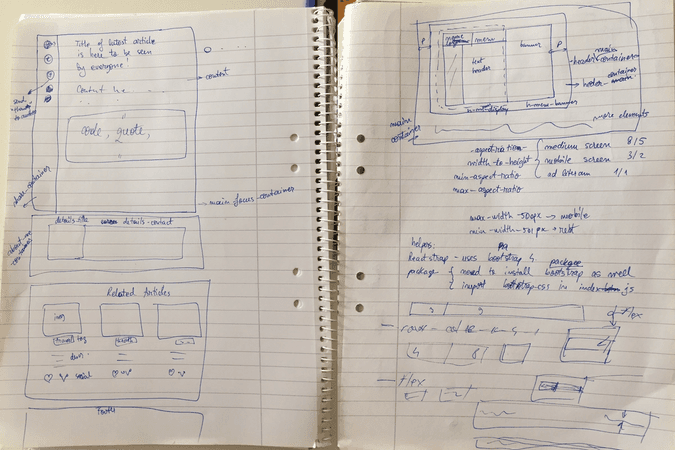 Wireframes on paper