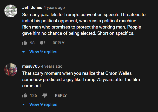 youtube comments on kane and trump