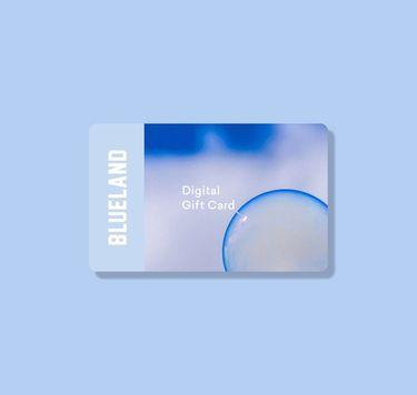 Blueland digital gift card against solid blue background