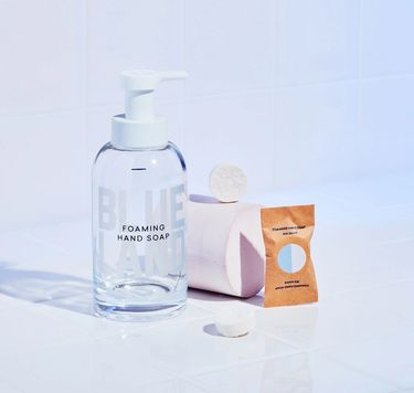Blueland Hand Soap Starter Set: 1 refillable glass bottle and 3 hand soap tablets