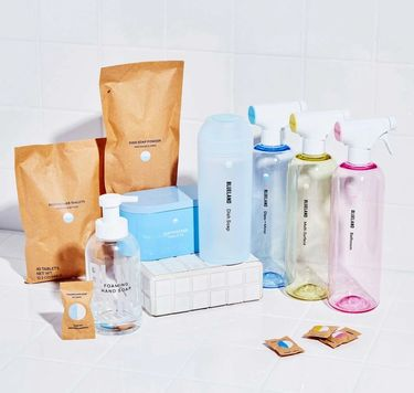 Everyday Clean on tile: 3 cleaning bottles + tablets,1 Hand Soap, dishwasher tablets and tin, Powder Dish Soap and shaker