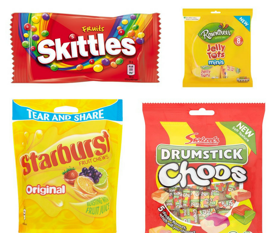 A selection of vegan friendly sweets - Skittles, Jelly Tots, Starburst, Drumstick