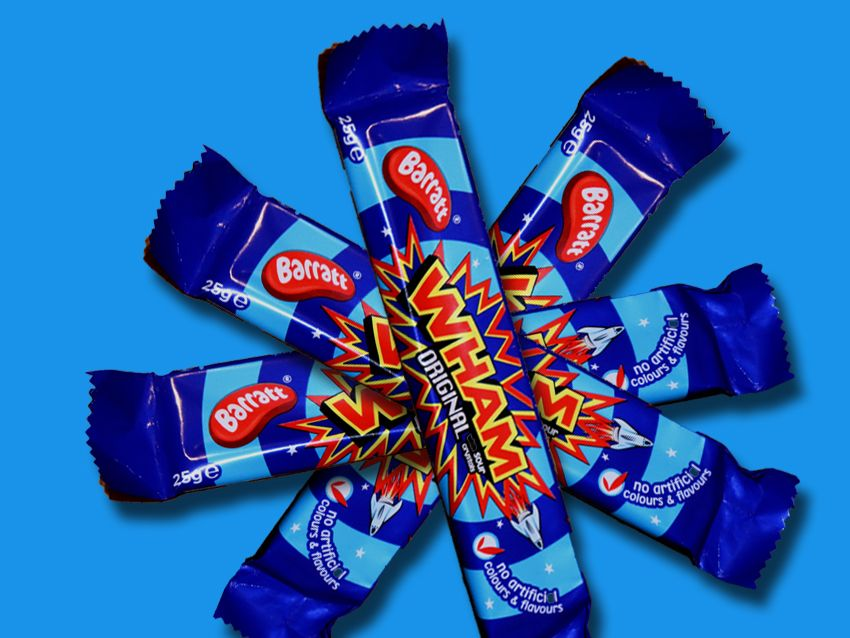 Wham chew bars arranged in a star shape on blue background.