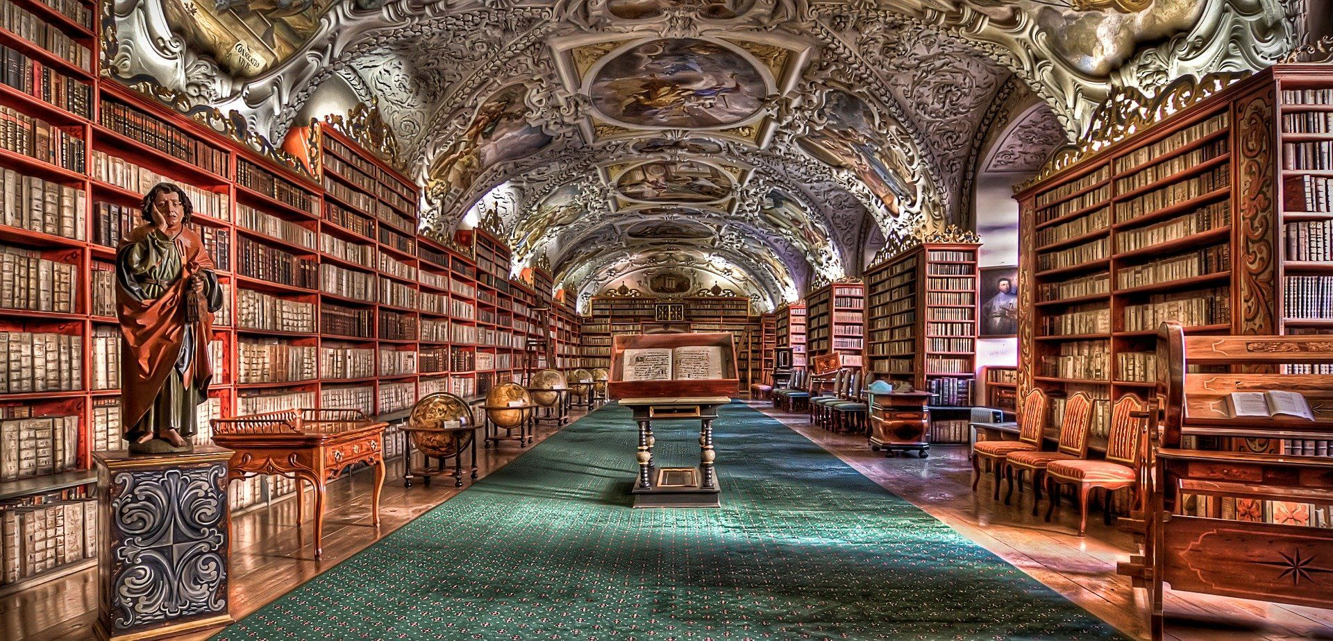 Decorative European library full of books and manuscripts