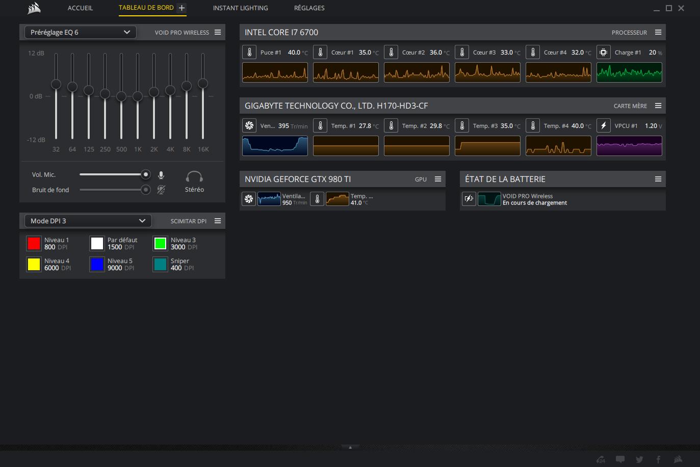 Ecran du logiciel Corsair Icue