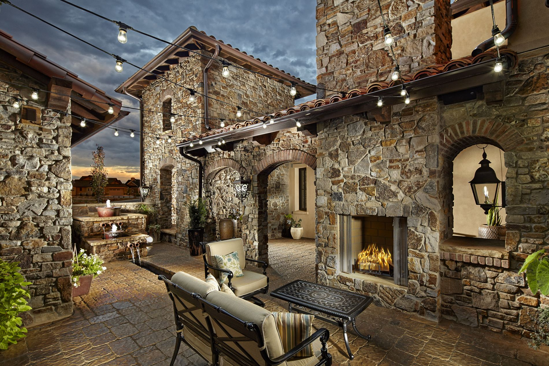 Paver Courtyard with Water Feature & Fireplace