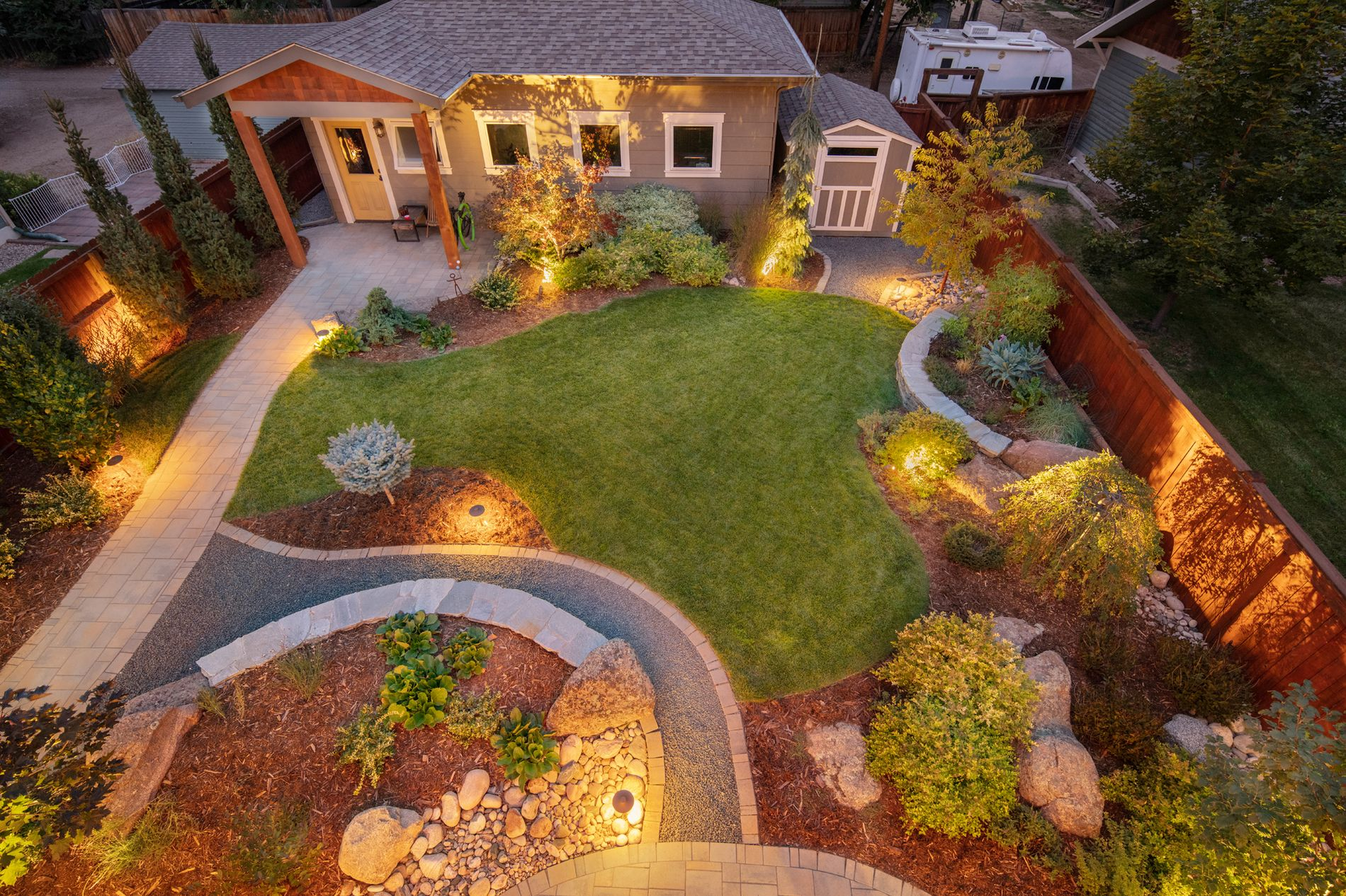 Landscape lighting provides evening viewing and safety
