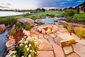 Fire pit with water feature