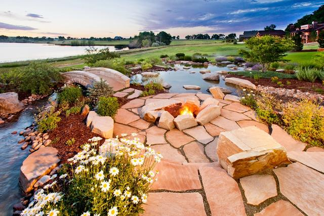 Wood Burning Fire Pit with Flagstone Patio