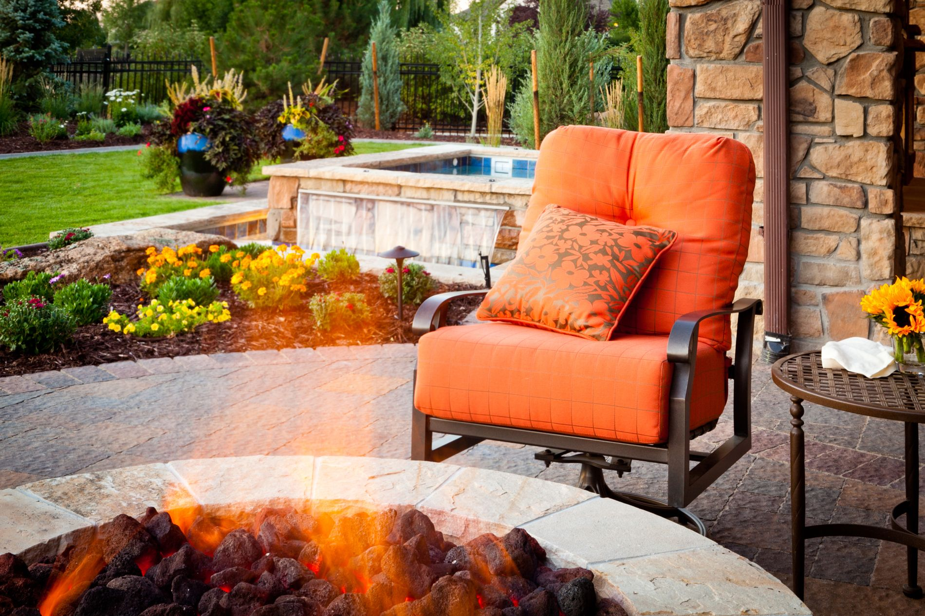 Masonry Fire Pit with Hot Tub and Water Fall