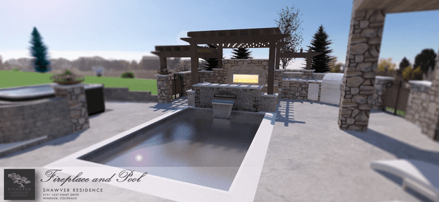 Fireplace & Pool Rendering