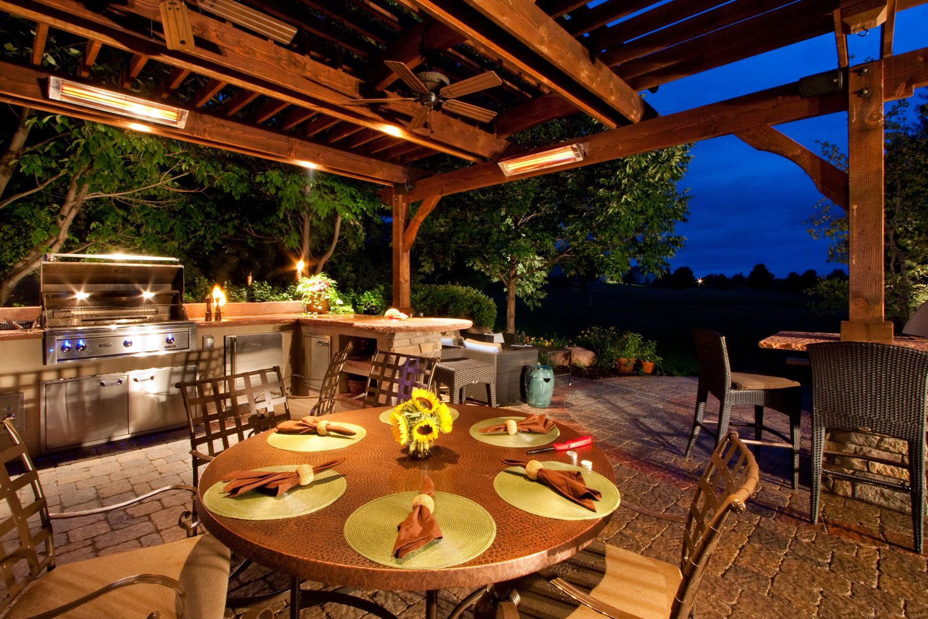 Custom designed pergola with heaters and ceiling fans