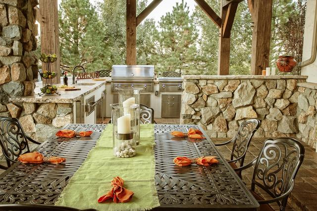 Custom Built Outdoor Kitchen and Dining Room