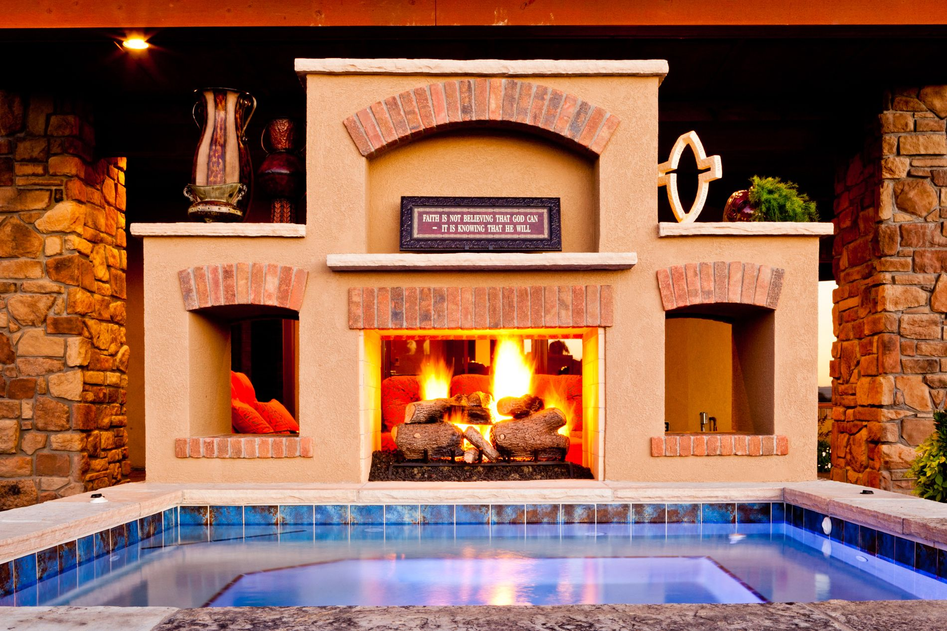 See Through Outdoor Fireplace with Hot Tub