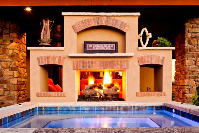 Outdoor Fireplace with Spa & Water Fall