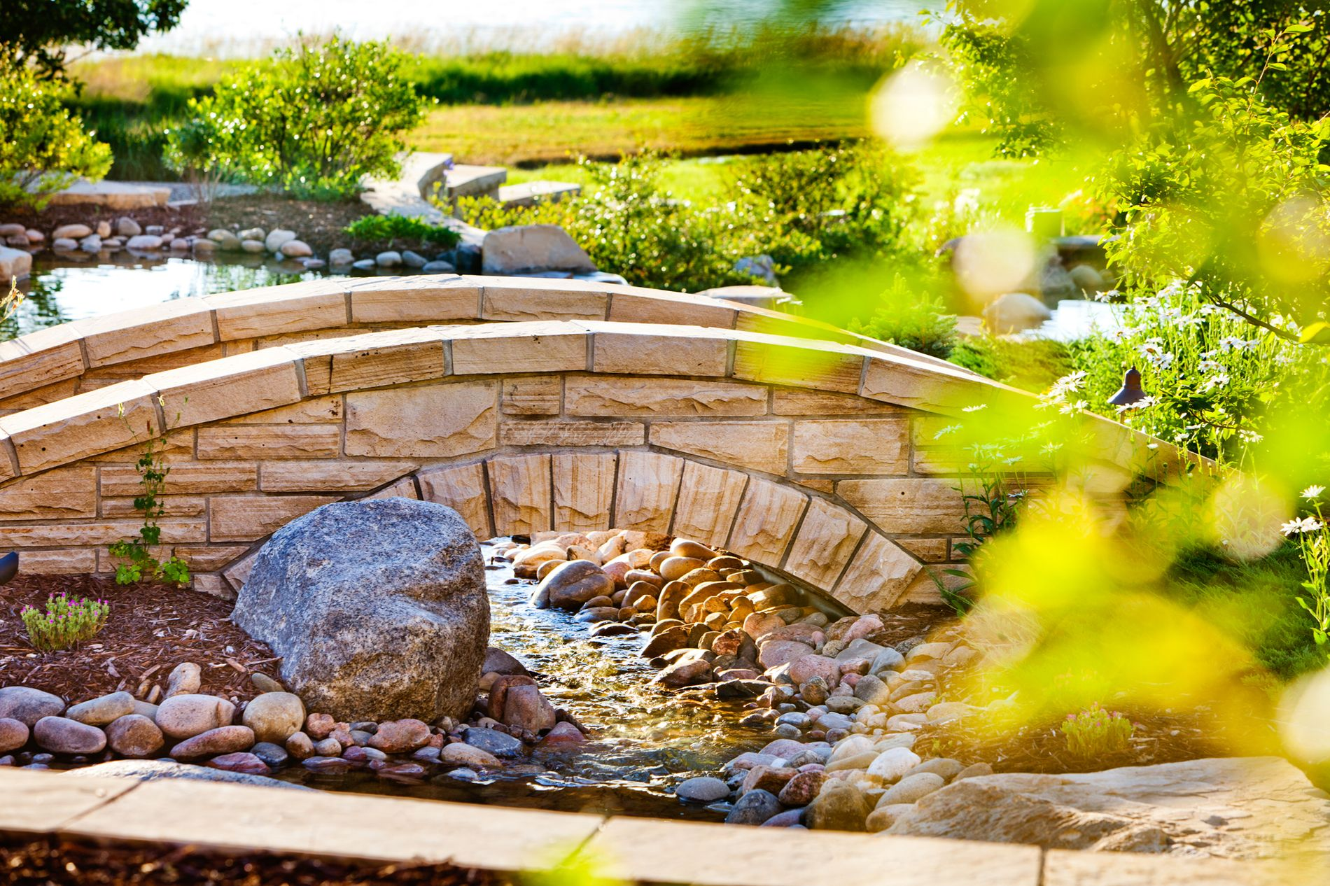 Masonry Bridge over Water Feature Stream
