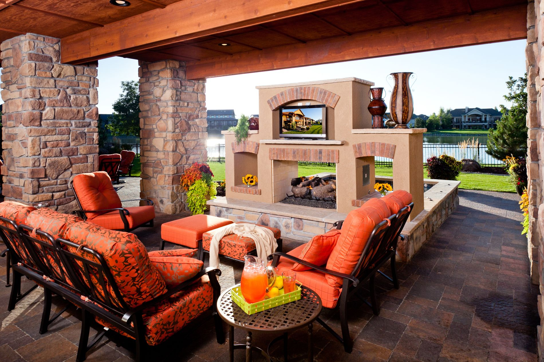 Lake Front See Through Fireplace and Paver Patio