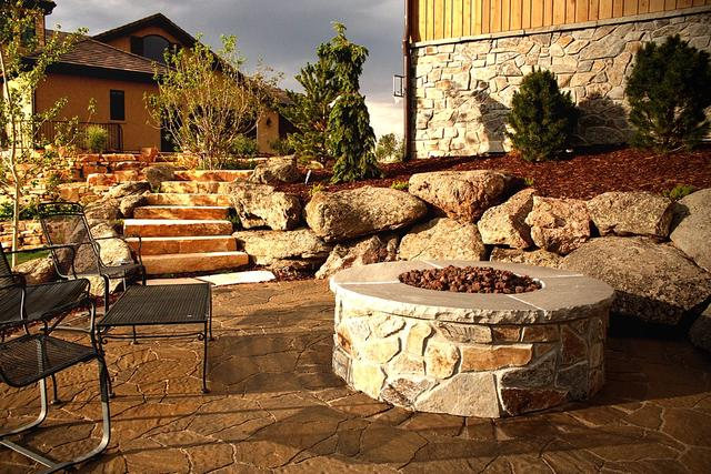 Fire Pit with Paver Patio and Sandstone Stairs