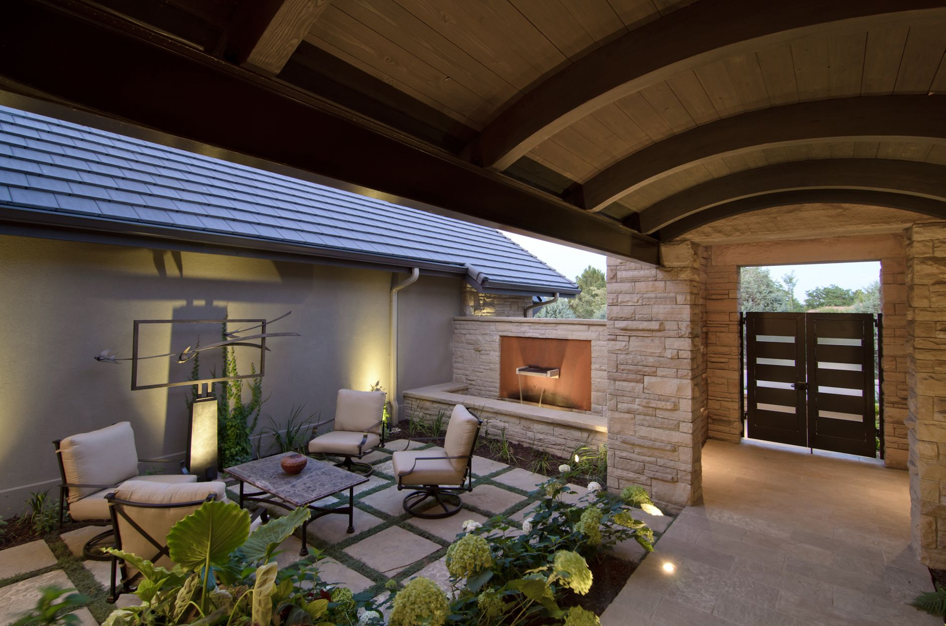 Courtyard landscape with custom water feature