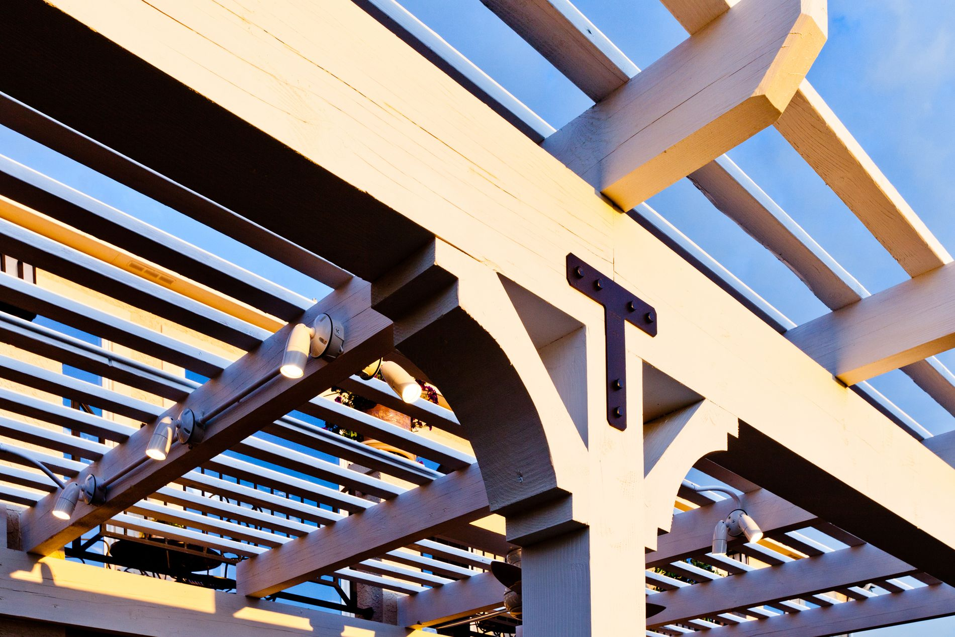 White Pergola with Black Hardware