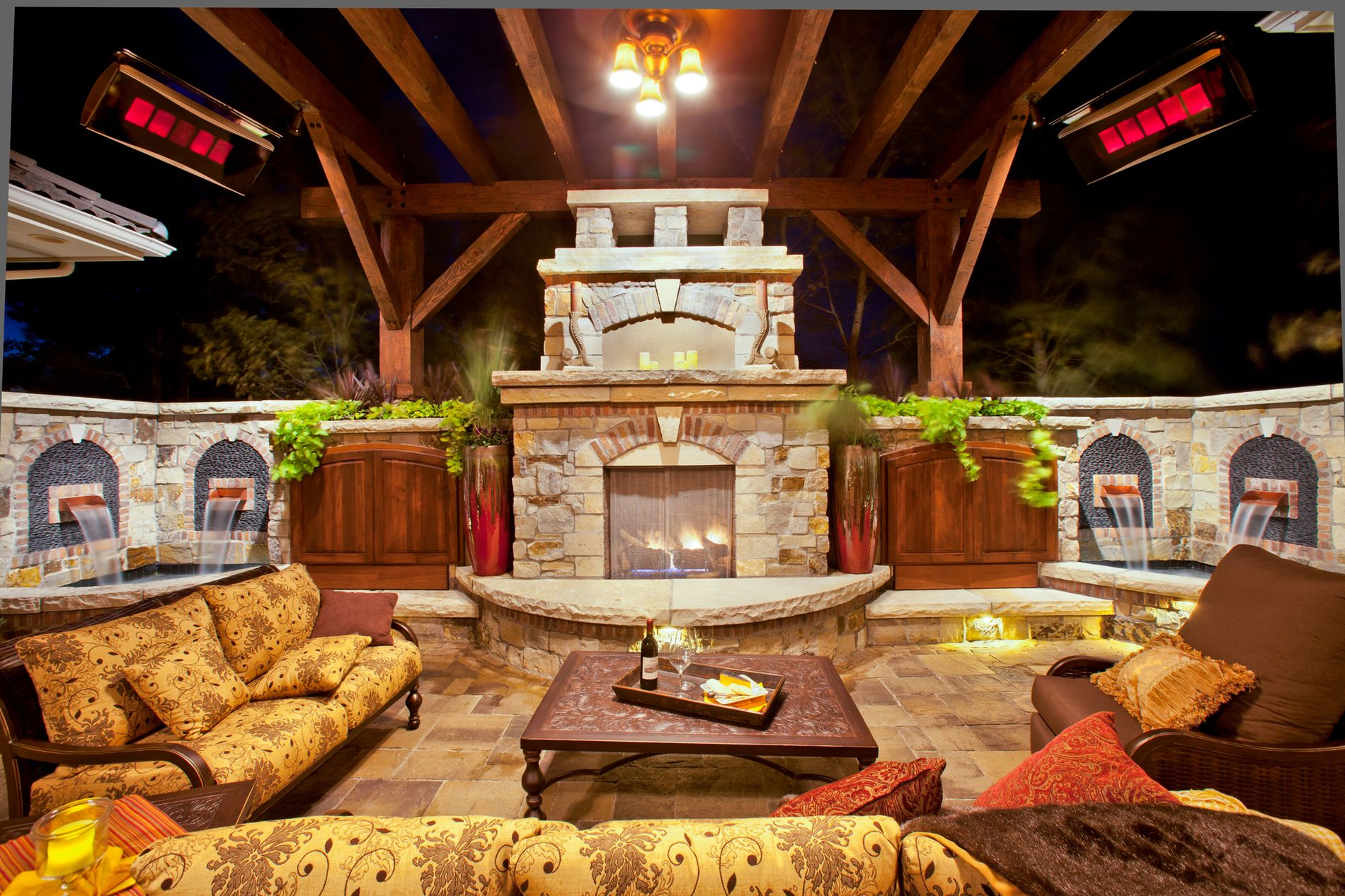 Outdoor Fireplace and Shade Structure