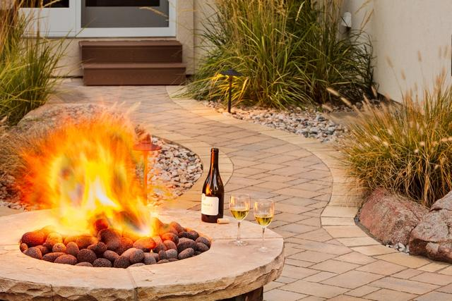Paver Sidewalk with Fire Pit
