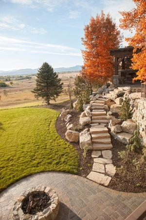 Fall landscape and hardscape