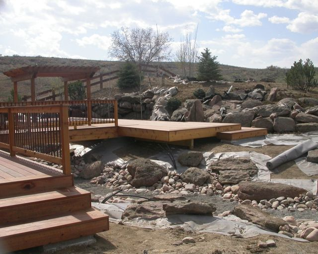 Deck completed and landscape installation