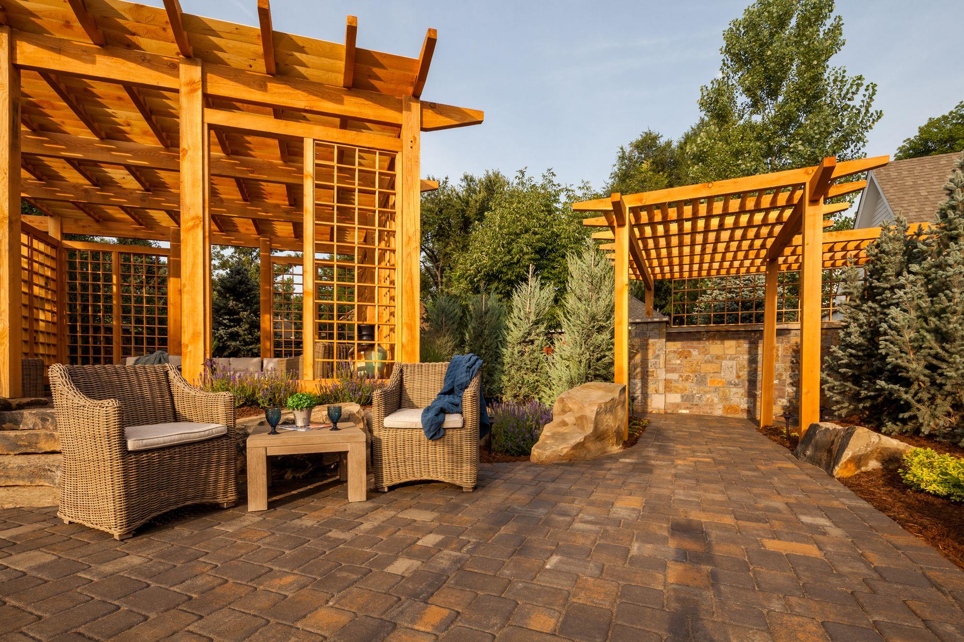 Concrete paver patio with pergola