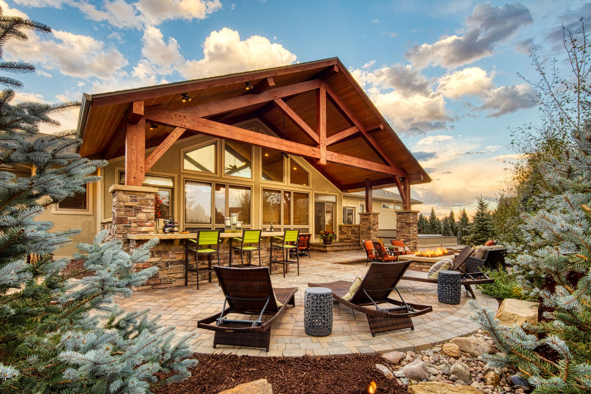 Paver patio with covered roof