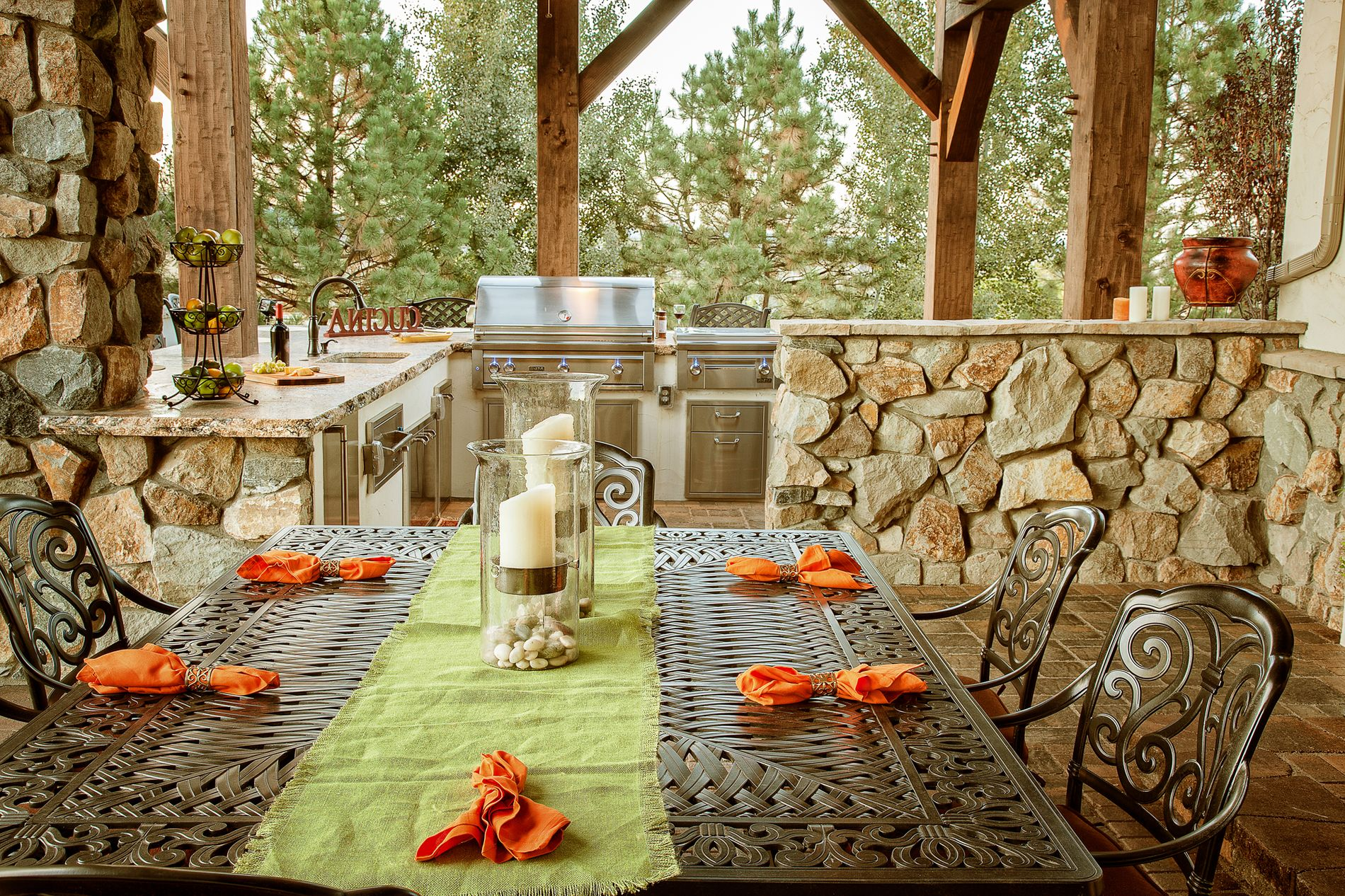 Custom outdoor kitchen with paver patio