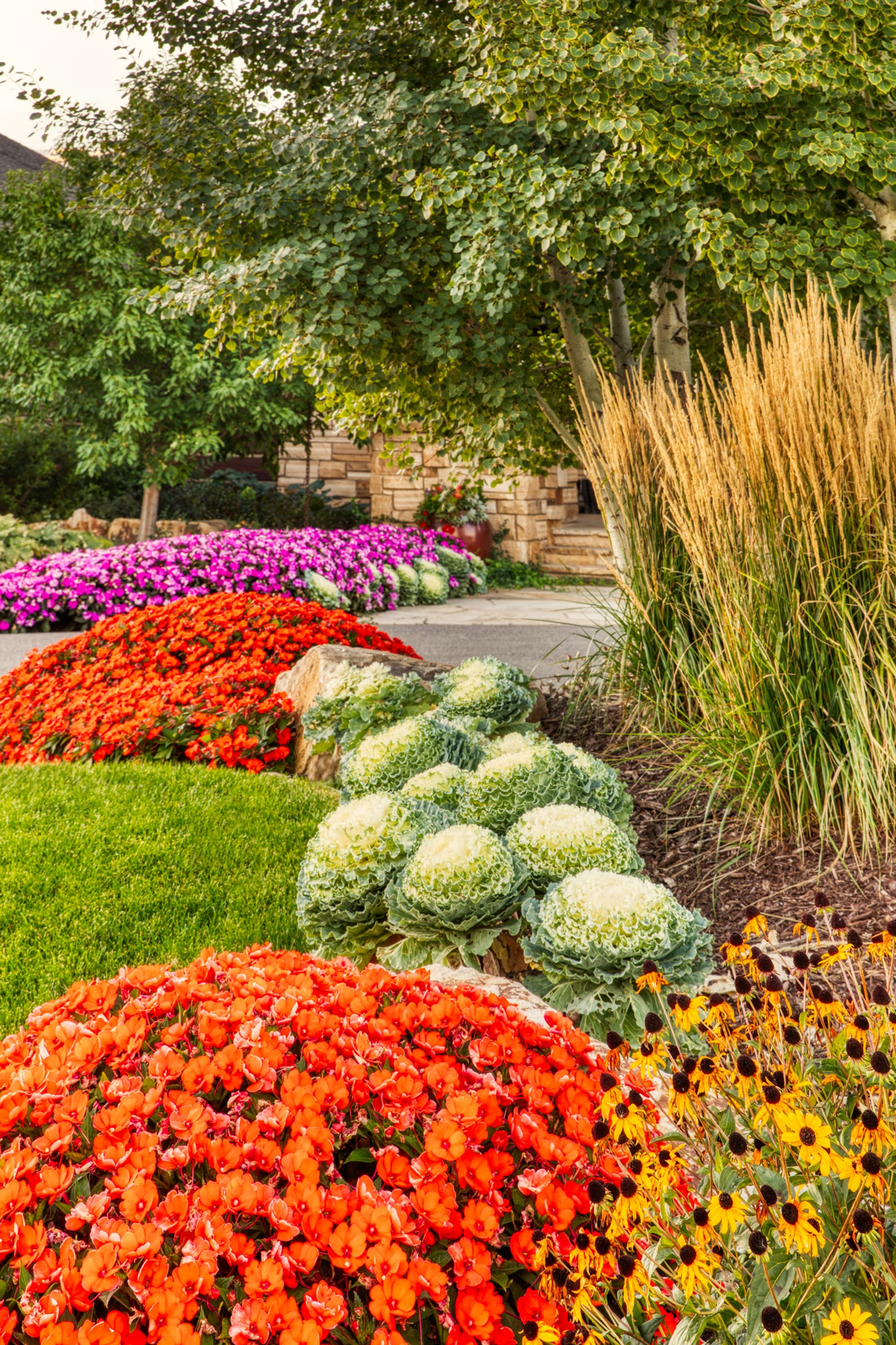 Seasonal color and annual beds with ornamental grasses